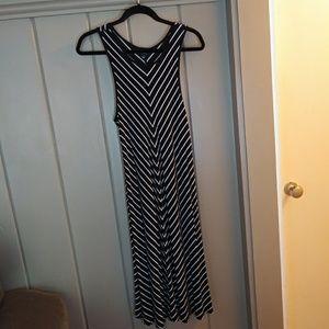 A.N.A. Black & White Striped Tank Maxi Dress Jr L